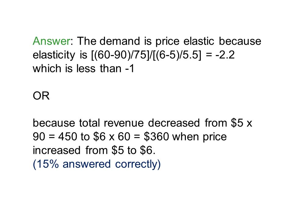 Answer: The demand is price elastic because elasticity is [(60-90)/75]/[(6-5)/5.5] = -2.2 which is less than -1